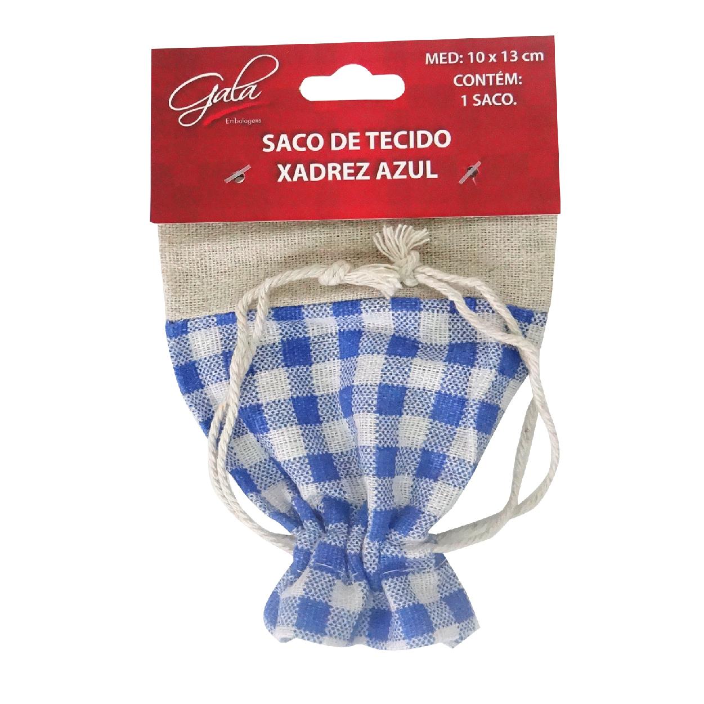 Saco de tecido xadrez Azul-STX