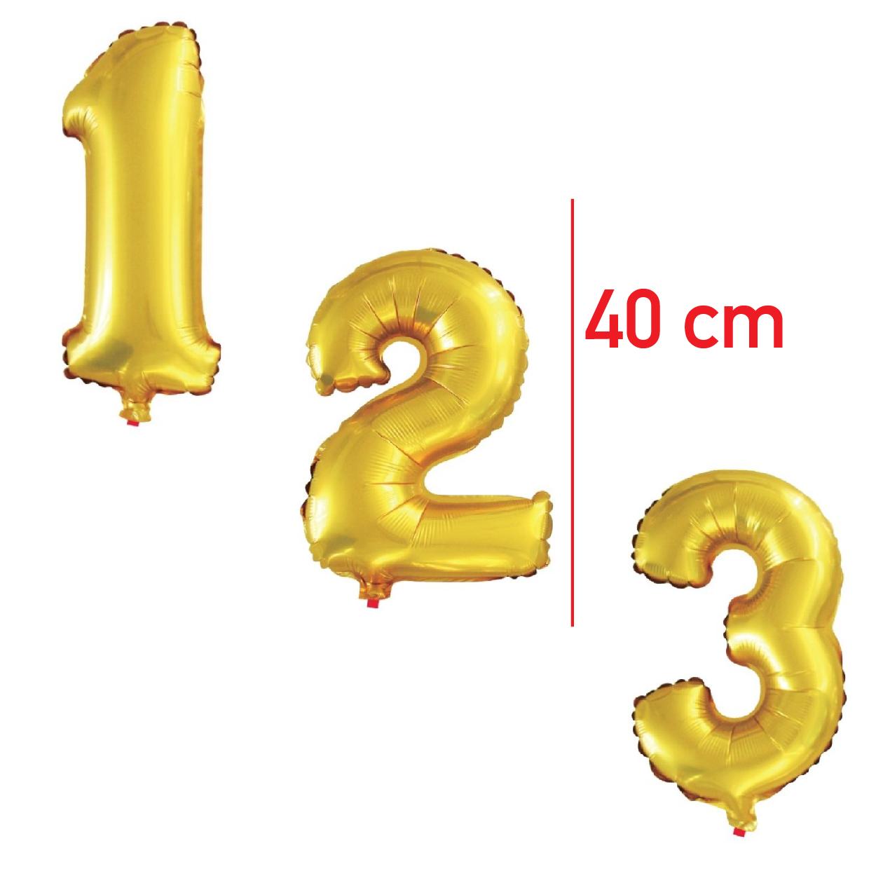 Balões Metalizados Números 40cm Dourados -BMND