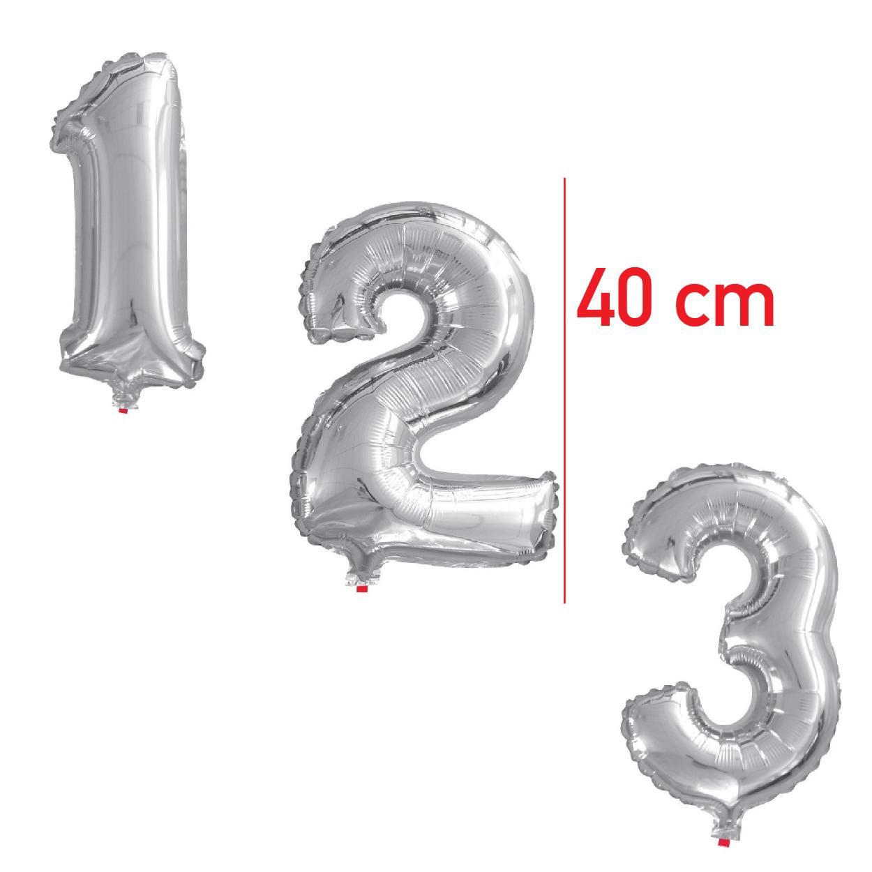 Balões metalizados Números 40cm Metálico-BMNP