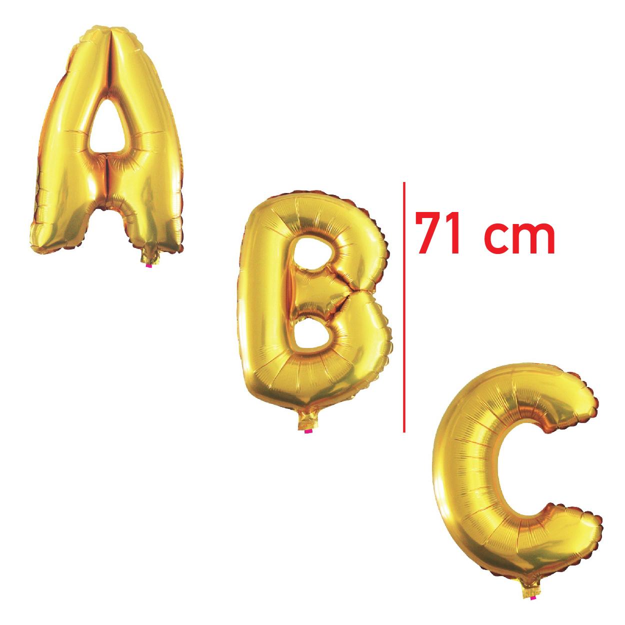 Balões Metalizados 71cm Dourados  (Letras de A a Z)-BM71