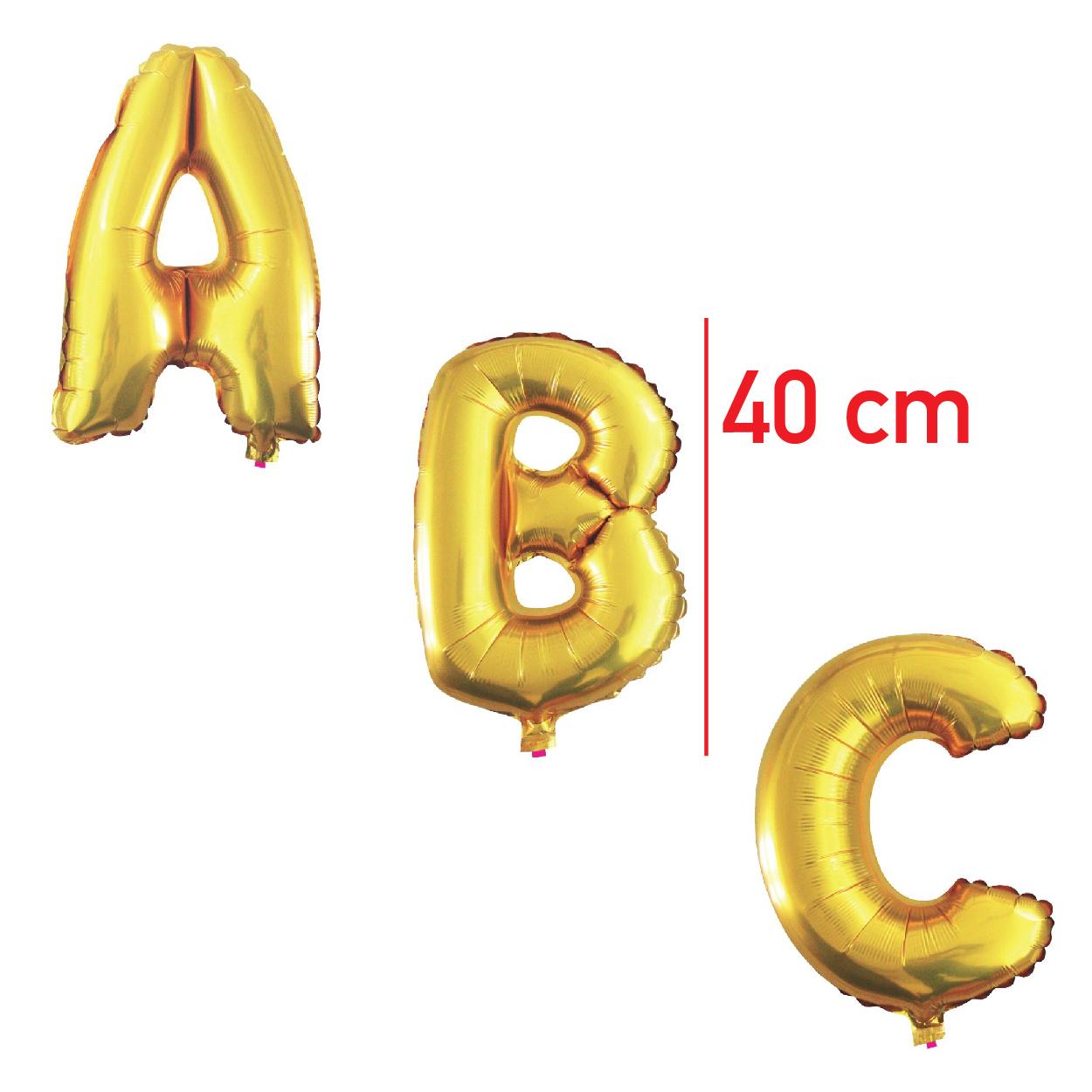 Balões Metalizados 40cm Dourados Letras de A a Z -BML16